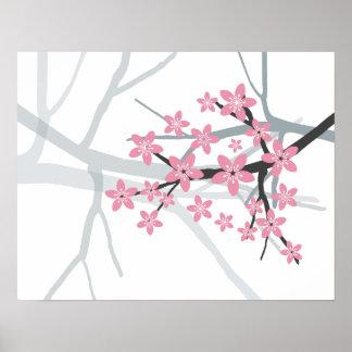 Sakura - impresión japonesa del flor del cerezo póster