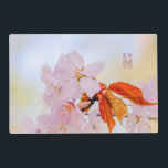 """Sakura - Japanese cherry blossom Placemat<br><div class=""""desc"""">Closeup view of a bunch of sakura flowers and leaves. Flowers are of light pink color. I believe sakura is something more than a cherry tree, it produces something more than blossoming flowers. It creates the mood, the sense of love and belonging to the eternity. Very short period of sakura...</div>"""