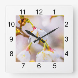Sakura - Japanese Cherry Blossom Square Wall Clock