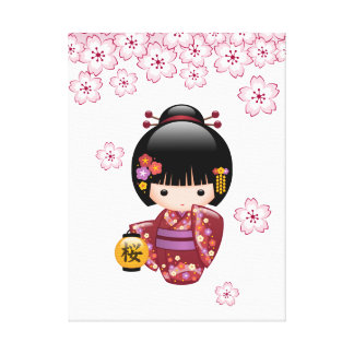 Sakura Kokeshi Doll - Cute Japanese Geisha Girl Canvas Print