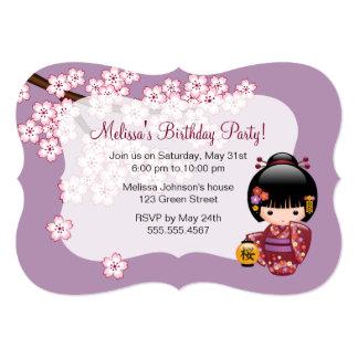 Sakura Kokeshi Doll - Cute Japanese Geisha Girl Card