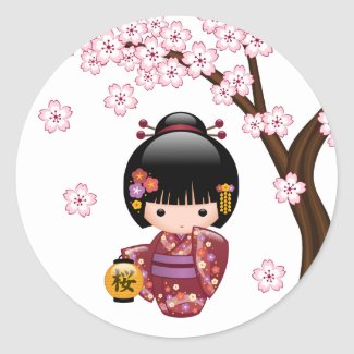 Sakura Kokeshi Doll - Cute Japanese Geisha Girl Classic Round Sticker