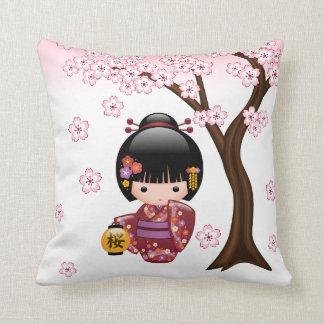 Sakura Kokeshi Doll - Cute Japanese Geisha Girl Throw Pillow