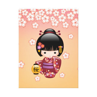 Sakura Kokeshi Doll - Geisha Girl on Peach Canvas Print