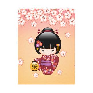 Sakura Kokeshi Doll - Geisha Girl on Peach Canvas Print
