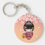 Sakura Kokeshi Doll - Geisha Girl on Peach Keychain