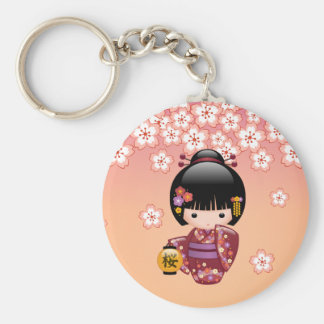 Sakura Kokeshi Doll - Geisha Girl on Peach Keychain