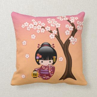 Sakura Kokeshi Doll - Geisha Girl on Peach Throw Pillow
