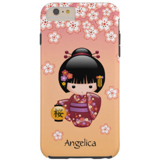 Sakura Kokeshi Doll - Geisha Girl on Peach Tough iPhone 6 Plus Case