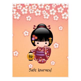 Sakura Kokeshi Doll - Geisha Girl Safe Journey Postcard