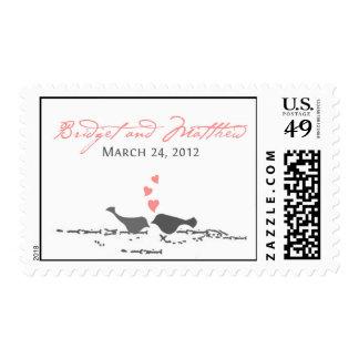 Sakura Love Birds Postage Stamp