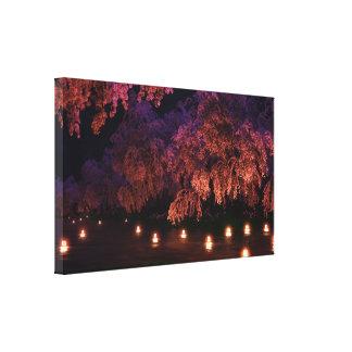 Sakura (noche) impresión en lienzo estirada