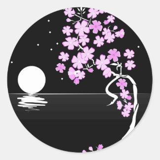 Sakura of the Night Classic Round Sticker