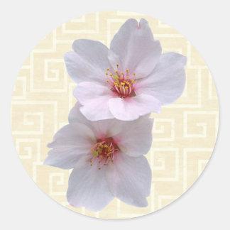 Sakura on Beige Classic Round Sticker