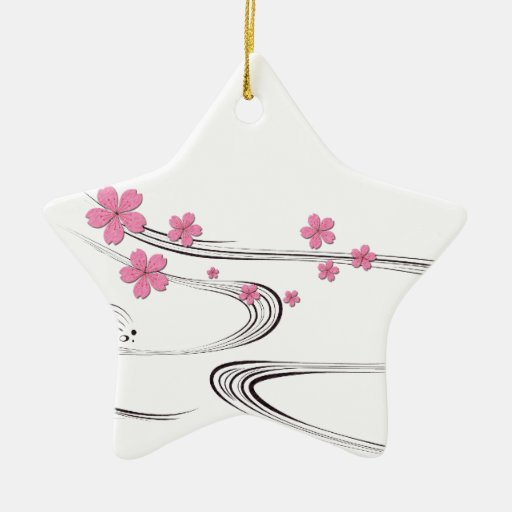 Sakura over river - Japanese Design Christmas Tree Ornaments