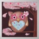 Sakura Owl Print print