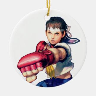 Sakura Punching Double-Sided Ceramic Round Christmas Ornament