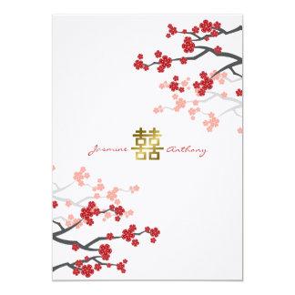 Sakura rojo florece el boda doble de la felicidad anuncio