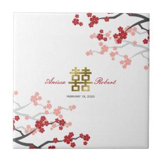 Sakura rojo florece teja china del regalo del oro