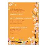 Sakura + Romantic Love Birds Tangerine Wedding Card