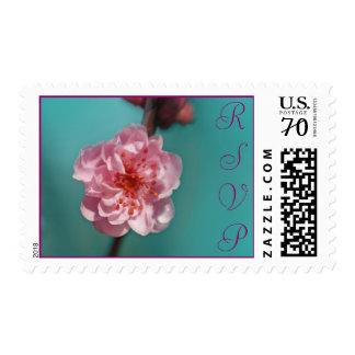 Sakura rosado, RSVP, texto adaptable Franqueo