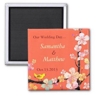 Sakura Save the Date Wedding Invitation magnet