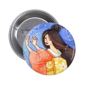 Sakura Shower Button, Geisha Kimono Art