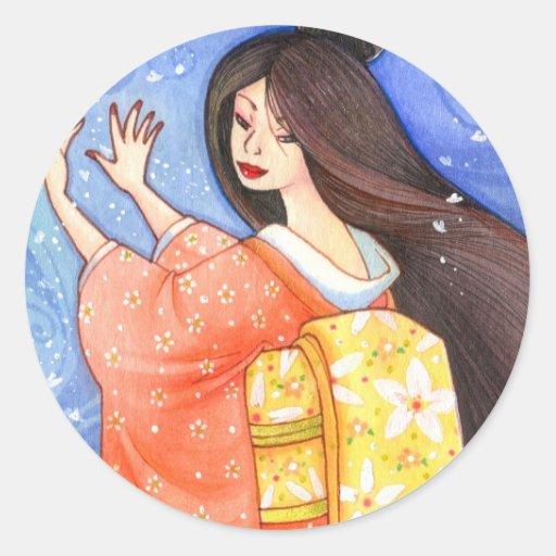 Sakura Shower Sticker, Geisha Kimono Art Classic Round Sticker