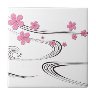 Sakura sobre el río - diseño del japonés azulejos ceramicos