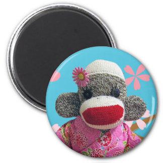 Sakura Sock Monkey Magnet