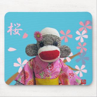 Sakura Sock Monkey Mousepad