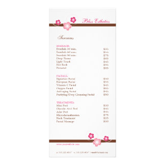 Spa menu rack cards zazzle for Massage price list template