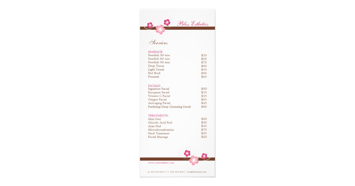 Spa Menu Rack Cards  Zazzle