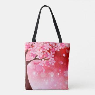 Sakura Tree Cherry Blossoms Pink Red  White Flower Tote Bag