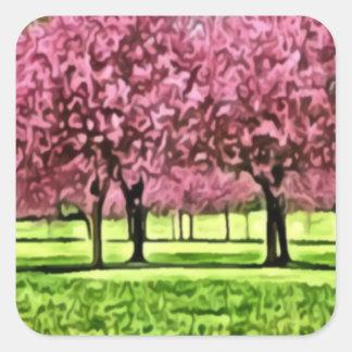 Sakura Tree Field Painting Stickers