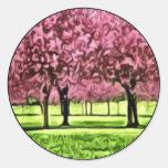 Sakura Trees Round Sticker