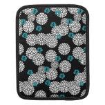 Sakura white black blue mums flowers iPad sleeve