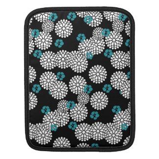 Sakura white black blue mums flowers sleeve for iPads