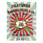 Sakura y etiqueta de seda japonesa del vintage de postal