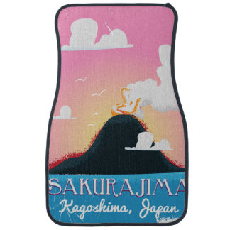Sakurajima Volcano Japan vintage travel poster Car Mat