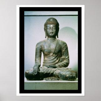 Sakyamuni asentado Buda de Ch ungung-ni hierro Posters