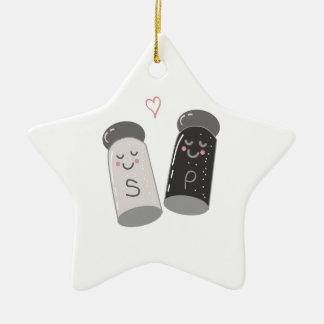Sal y pimienta adorno navideño de cerámica en forma de estrella