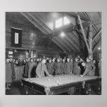 Sala de billar de la guerra mundial 1 YMCA, los añ Poster