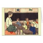 Sala de clase del vintage tarjetas