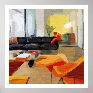 Sala de estar moderna de los mediados de siglo póster