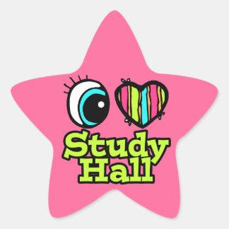 Sala de estudio brillante del amor del corazón I Pegatina En Forma De Estrella
