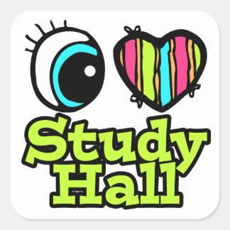 Sala de estudio brillante del amor del corazón I Pegatina Cuadrada