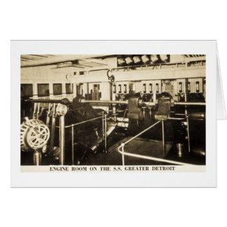 Sala de máquinas en el S.S. Greater Detroit - líne Tarjeton