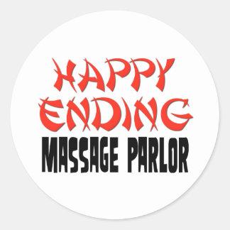 Sala de masaje feliz de la conclusión etiquetas redondas