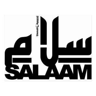 Salaam black postcard